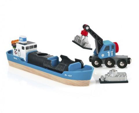 Игровой набор с кораблем, краном-погрузчиком и грузом Image